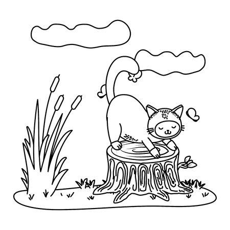 cute pet little animal cat outdoor scene cartoon vector illustration graphic design