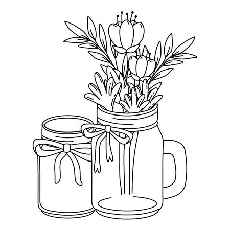 floral nature flowers with masons jars cartoon vector illustration graphic design  イラスト・ベクター素材