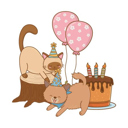 cute pet little animals birthday party concept cartoon vector illustration graphic design
