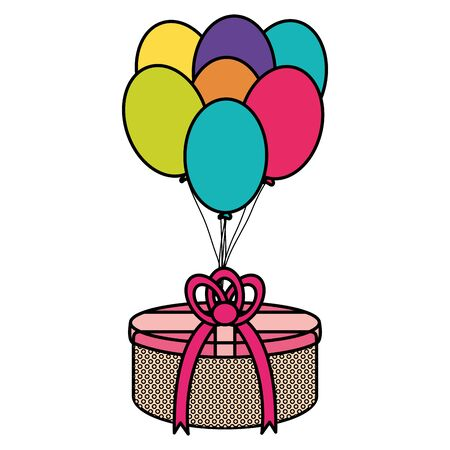 gifts boxes with balloons helium floating vector illustration design