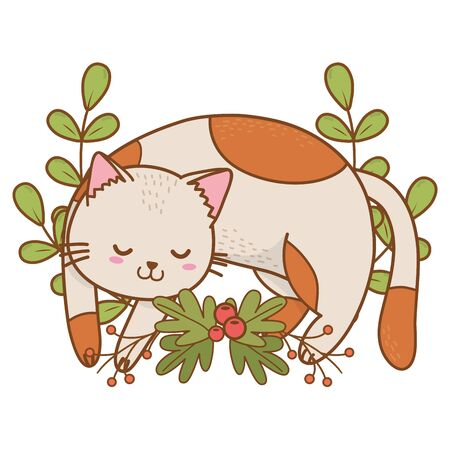 cute pet little animal cat kitty flowers frame cartoon vector illustration graphic design Illustration