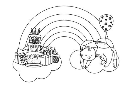 cute pet little animal kitty cat birthday party concept cartoon vector illustration graphic design