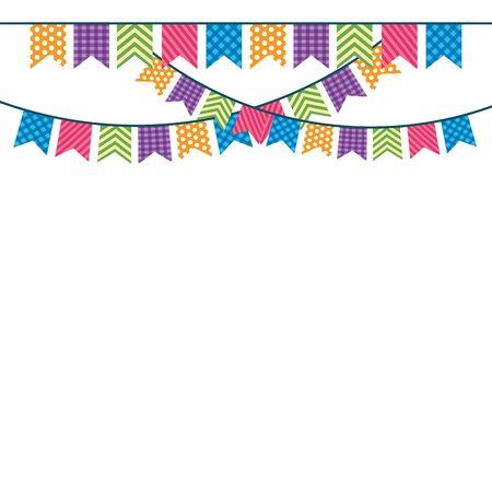 festive party pennants celebration scene cartoon vector illustration graphic design