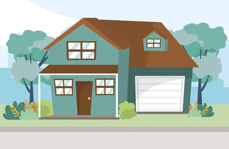 house urban home building cartoon vector illustration graphic design