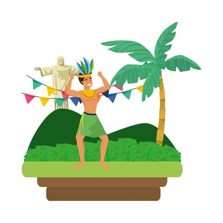 man celebrating brazil carnival with arms up on landscape with pennants and Christ redeemer vector illustration editable Illustration