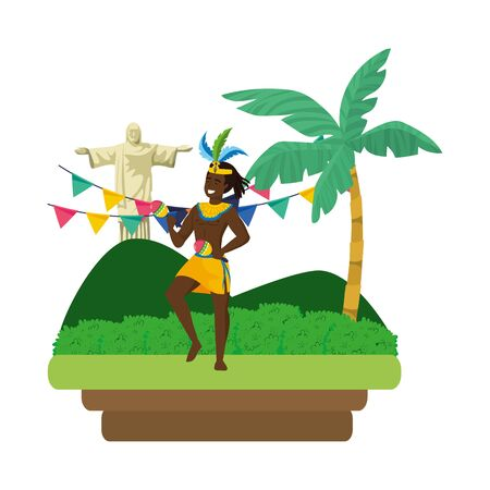 man celebrating brazil carnival with maracas on landscape with pennants and Christ redeemer vector illustration editable