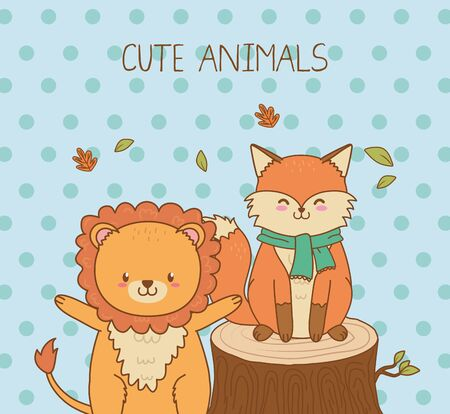 cute fox and lion woodland characters Vectores