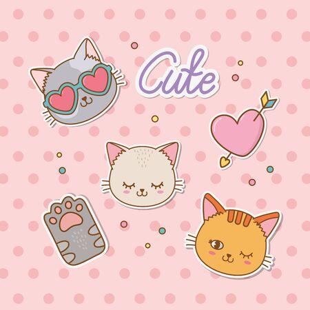 set of stickers vector illustration design Illustration