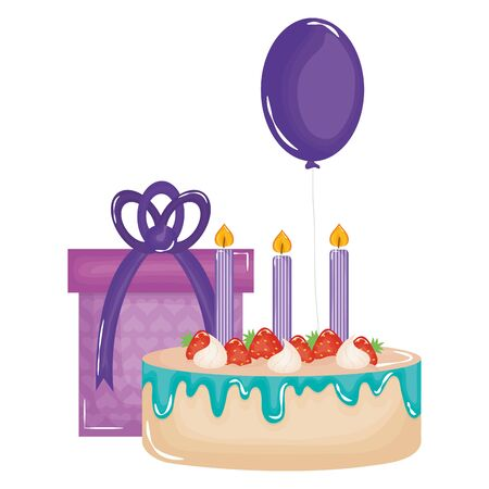 gift box with sweet cake and balloon helium floating vector illustration design 일러스트