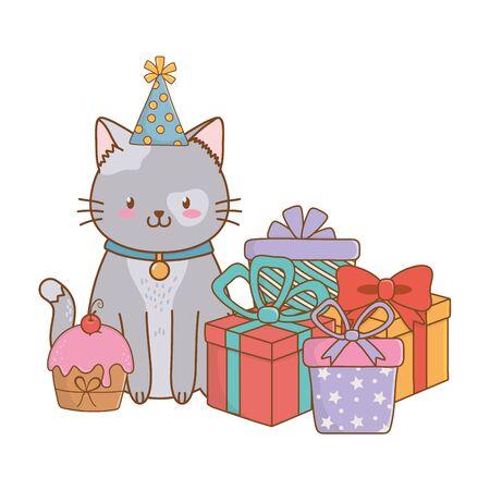 Cute pet little animal kitty cat fiesta de cumpleaños concepto de dibujos animados ilustración vectorial diseño gráfico