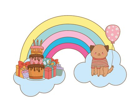 cute adorable animal dog birthday party scene magic festive over clouds with rainbow cartoon vector illustration graphic design