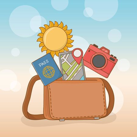 suitcase bag with travel vacations items vector illustration design Illustration