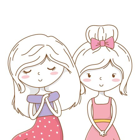 Cute couple girls friends beautiful hairstyle outfit beautiful hairstyle outfit dress bow sirt hopeful vector illustration graphic design