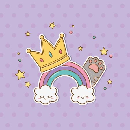 crown and cat paw stickers style vector illustration design