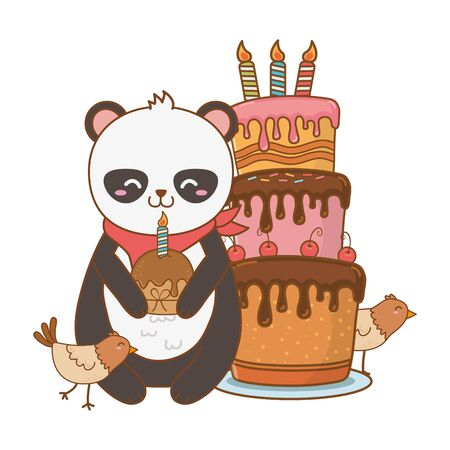 cute little animals at birthday party festive scene cartoon vector illustration graphic design