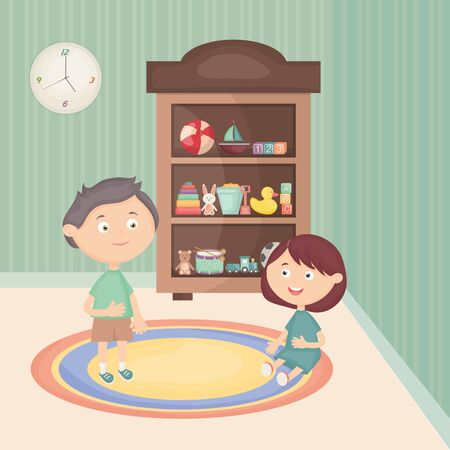 little kids couple playing with toys in the room vector illustration design Фото со стока - 124627467