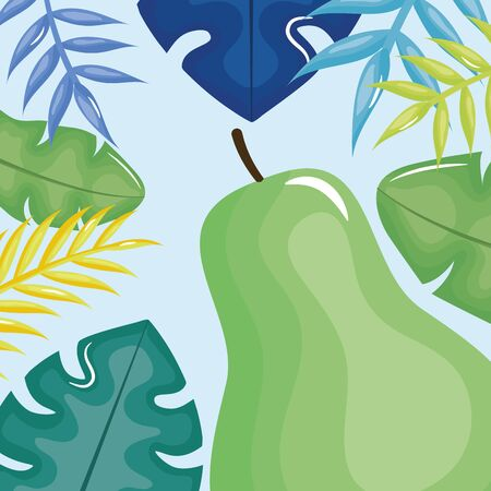 fresh pear with leafs palms frame Ilustração