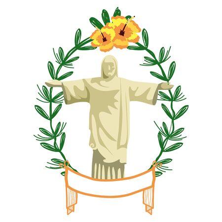 christ redeemer on laurel wreath