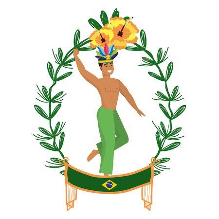 man dancing celebrating brazil carnival on laurel wreath with flowers and flag vector illustration editable