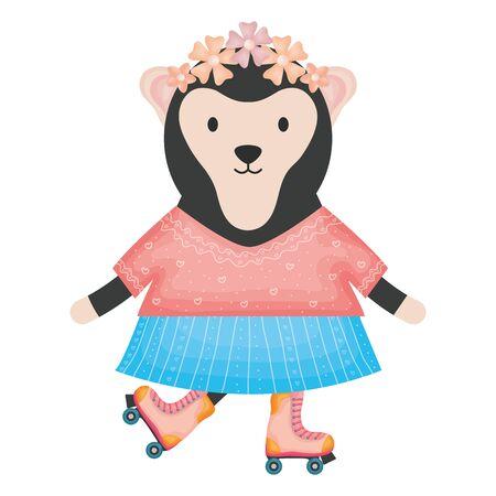cute female monkey in skates