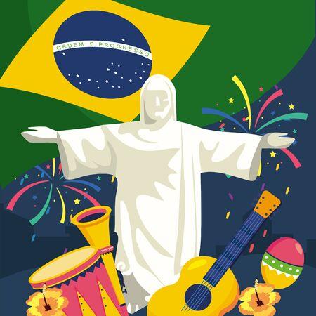 christ redeemer with traditional instruments and fireworks Ilustração