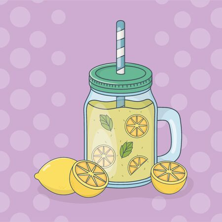 lemon juice fruit in pot with straw Illustration