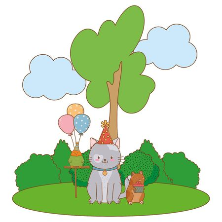 cute pet little animals birthday party concept cartoon vector illustration graphic design