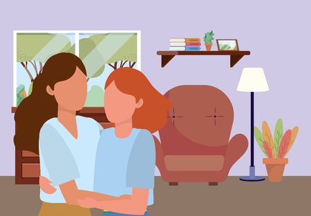 casual happy people lesbian women indoor scene at house home with furniture cartoon vector illustration graphic design Illustration