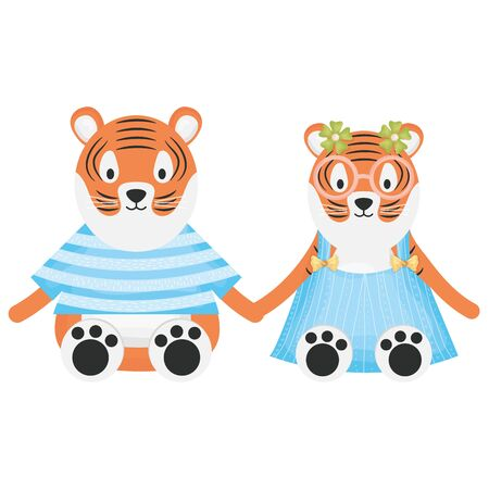 cute tigers couple childish characters vector illustration design