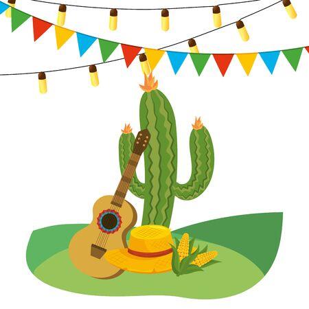 festa junina brazil party festival june celebration traditional elements cartoon vector illustration graphic design