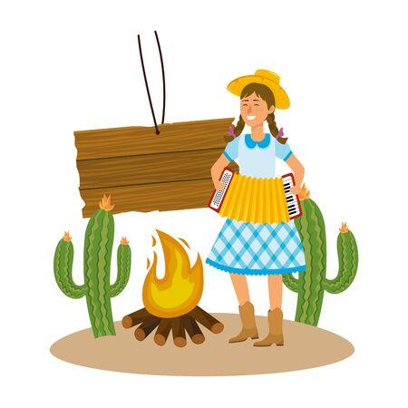 festa junina brazil party festival june celebration woman with traditional elements cartoon vector illustration graphic design
