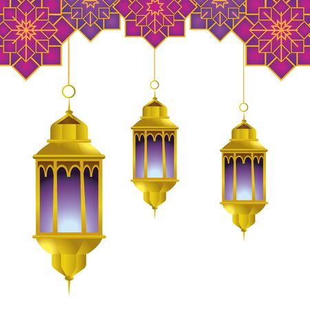 hanging lamp with arabic ornament icon cartoon vector illustration graphic design  イラスト・ベクター素材