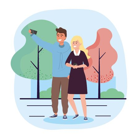 man and woman couple with smartphone communication vector illustration