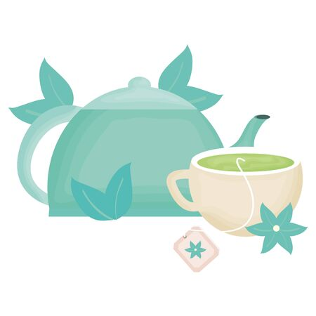 delicious tea cup and teapot vector illustration design