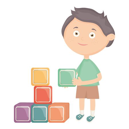 cute little boy with blocks