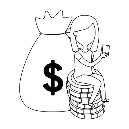 Girl design, Money financial item commerce market payment  invest and buy theme Vector illustration Banco de Imagens - 124730319