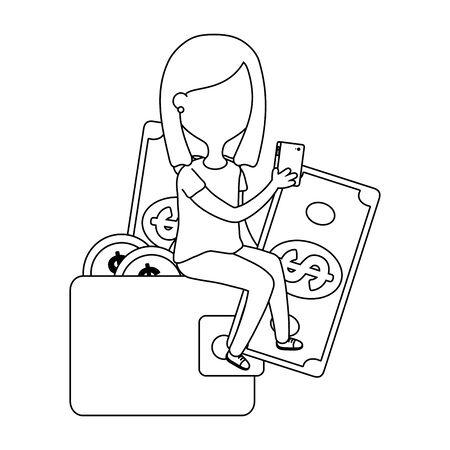 Girl with money icon Illustration