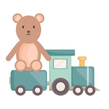 little bear teddy with little train vector illustration design