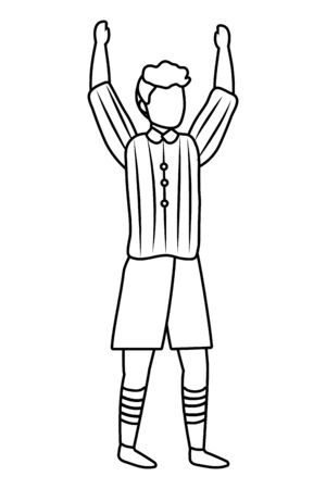 human man body raised hands cartoon vector illustration graphic design Banco de Imagens - 124730390