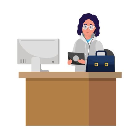 education university college man student over desk with computer cartoon vector illustration graphic design