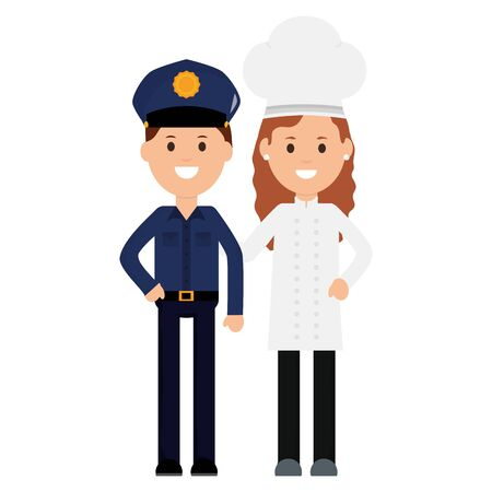 young female chef with officer police vector illustration design