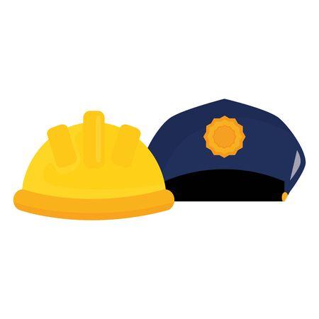 builder helmet with police hat vector illustration design Иллюстрация