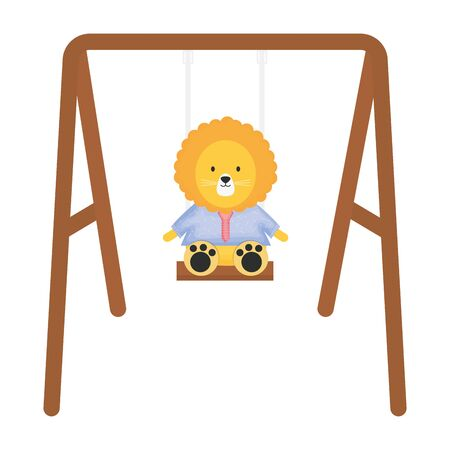 cute lion in swing character