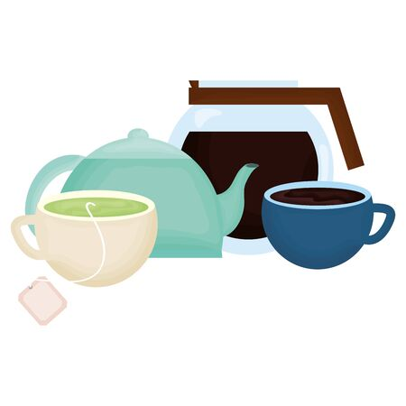 kitchen teapot and coffee drinks vector illustration design  イラスト・ベクター素材