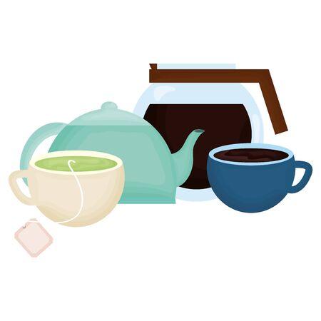 kitchen teapot and coffee drinks vector illustration design Illustration