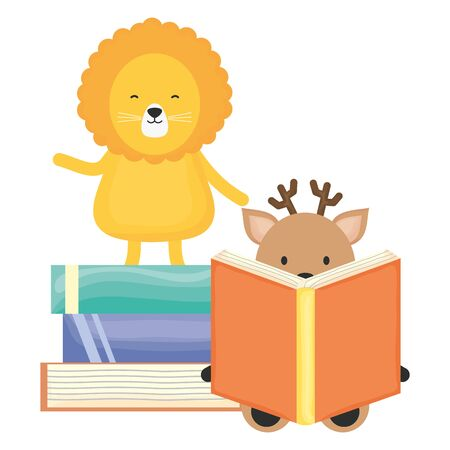 cute lion and reindeer with books childish character vector illustration design