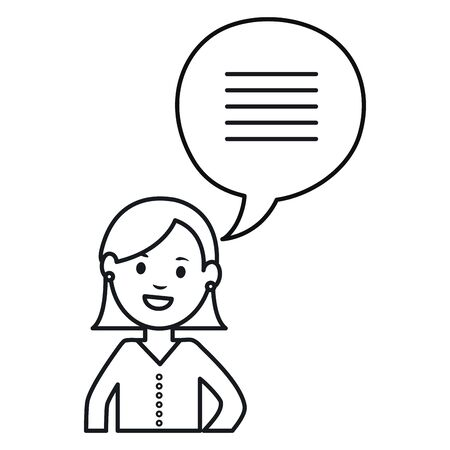 monochrome woman with speech bubbles avatar character vector illustration
