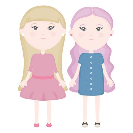 cute little girls couple characters vector illustration design