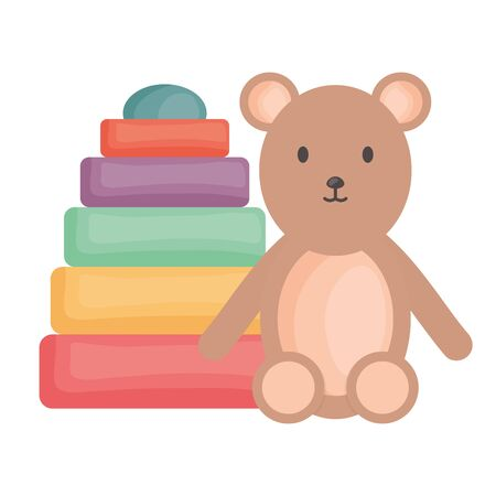 little bear teddy with pile blocks colors vector illustration design