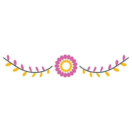mexican decorative flowers and leafs wreath vector illustration design